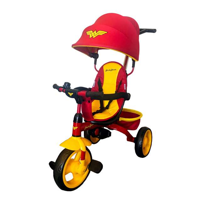 7501WWM Kids Embrace Wonder Woman 4-in-1 Push and Pedal Toddler Trike and Stroller, Red 1
