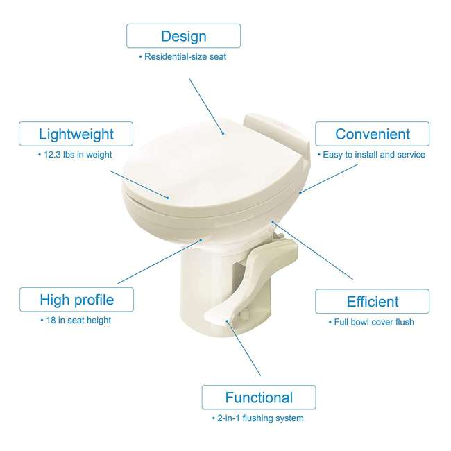 42171 Thetford 42171 Aqua Magic Residence Modern Style RV Portable Travel Toilet, Bone 1