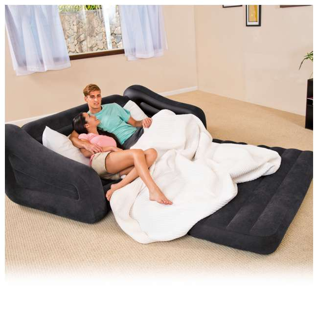 68566EP + 66636E Intex Dark Gray Inflatable Queen Size Pull-Out Sofa Bed & 12V Electric Air Pump 5