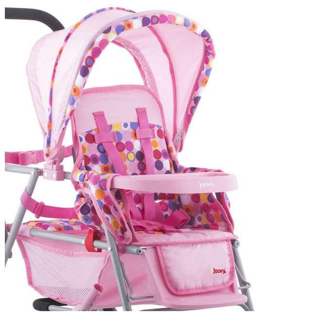 JVY-042 Joovy Toy Doll Caboose Pretend Play Tandem Stroller, Pink Dot 4