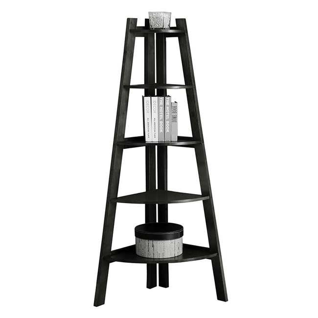 IDF-AC6214BK Furniture of America Lyss Contemporary 5 Tier Wooden Corner Ladder Shelf, Black