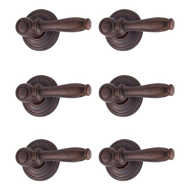 6 x 97200-652 Kwikset Ashfield Hall/Closet Lever, Rustic Bronze (6 Pack)