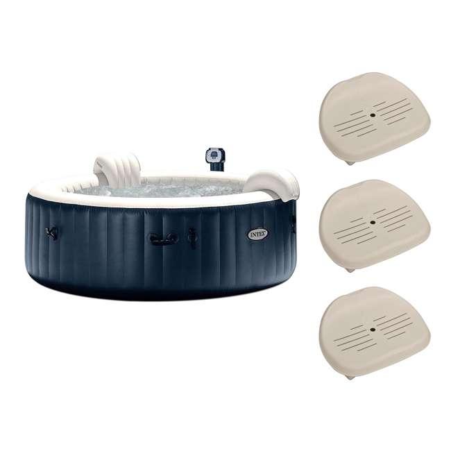 "28409E + 3 x 28502E Intex PureSpa 75"" Portable Jet Spa 6 Person Inflatable Hot Tub w/ Seat (3 Pack)"