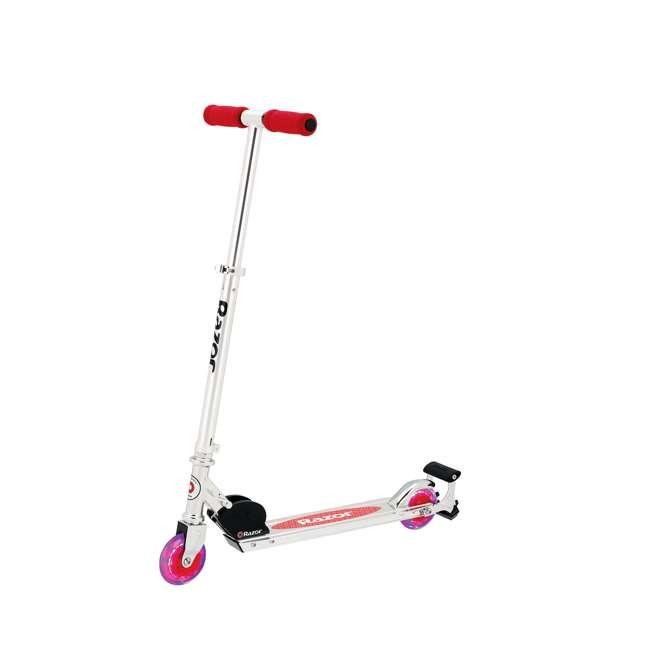 13010456-U-A Razor Spark + Kids Folding Scooter w/ Light Up Wheels & Spark Bar, Red(Open Box)