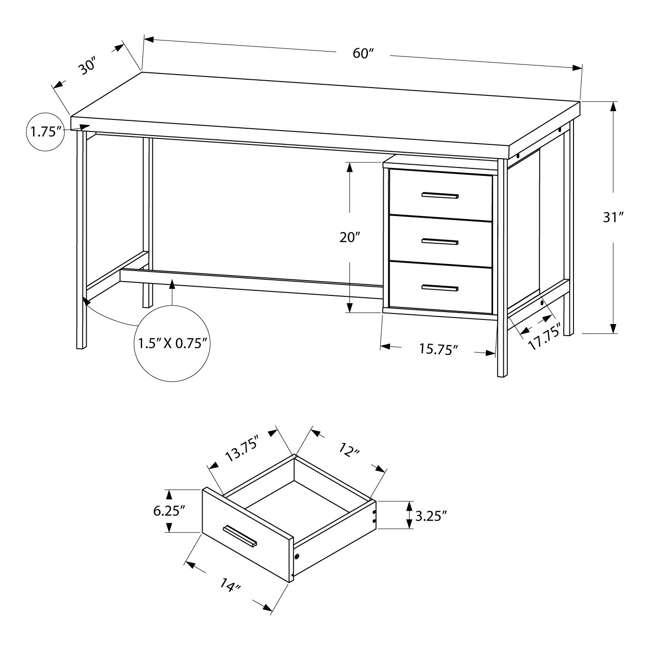 "MS-VM7046-U-A Monarch Specialties 60"" Contemporary Computer Desk w/ Drawers, White (Open Box) 3"