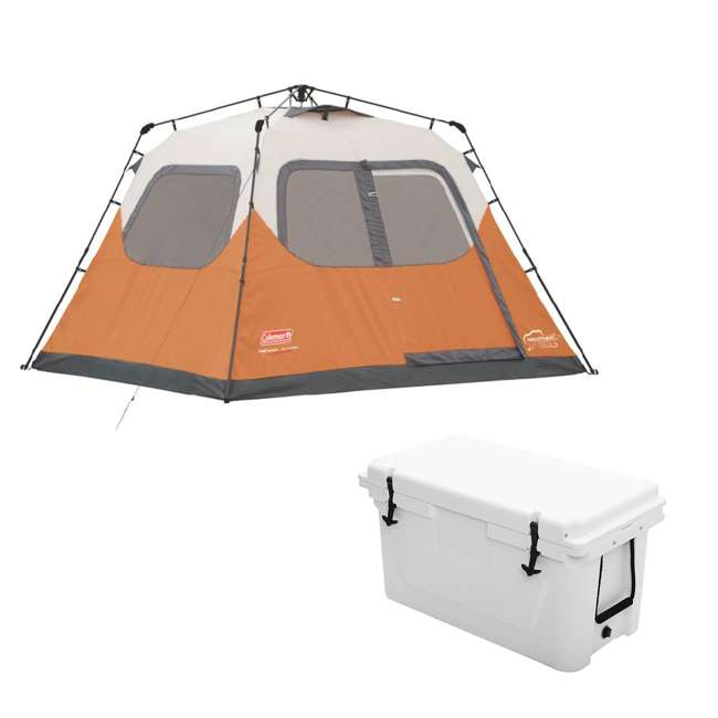 2000017933 + 2A-CM004W Coleman Outdoor 6 Person Camping Tent and Uriah Products 85 Prime Cooler