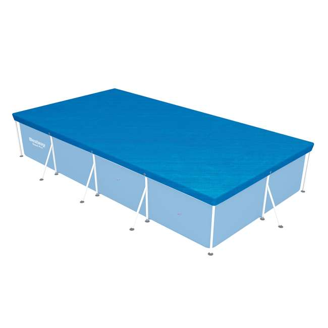 58107-BW-U-A Bestway 157 x 83 Inch Above Ground Pool Tarp Cover for Steel Pro Pool (Open Box) 1
