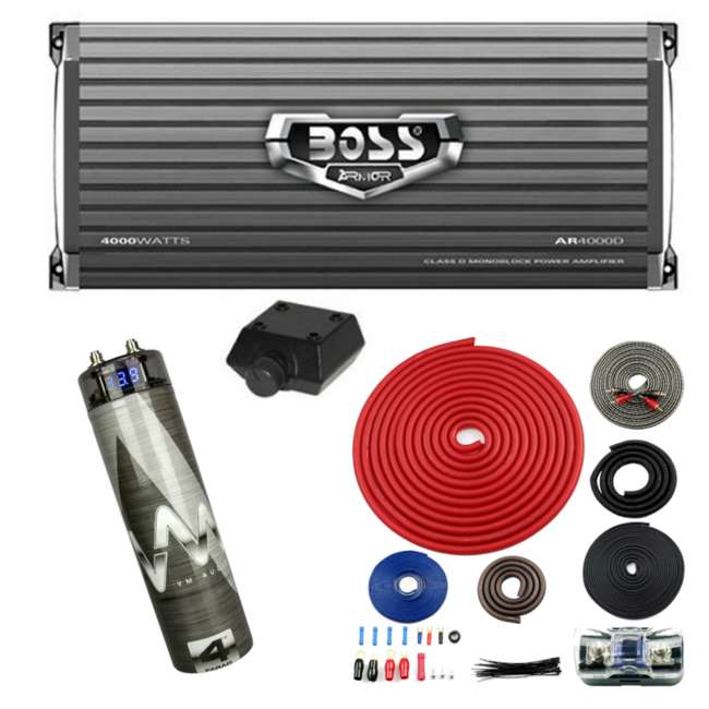 Boss AR4000D 4000W Mono Amplifier with Remote + 4 5 Farad Capacitor + Amp  Kit (Package)