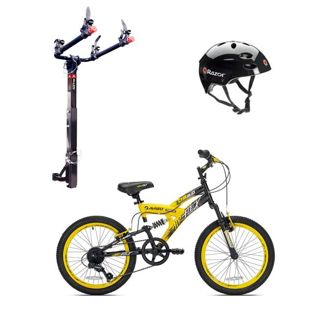 42084 + 522RR-R + 97778 Kent Bikes Avigo Air Flex Steel 20 Inch Boys BMX Bike & 2 Bike Car Rack & Helmet