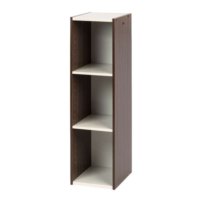 596307 IRIS USA 596307 Space Saving Adjustable Stackable Shelf Organizer, Walnut Brown