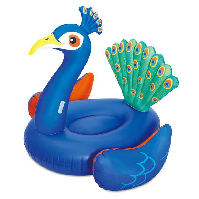 """P4A024521167+K50525000167+K50617000167 Summer Waves 24' x 52"""" Frame Pool Set + Pink Flamingo, Peacock and Swan Floats 8"""