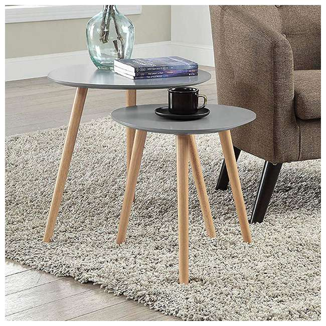 S20-303 Convenience Concepts S20-303 Oslo Modern Sturdy Wood Nesting End Tables, Gray 2