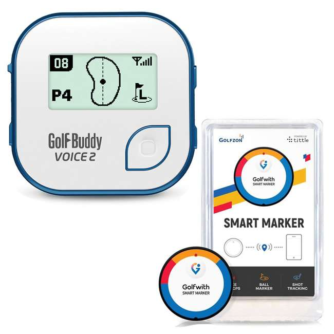 VOICE2-WHTBLUE + PGSMGps Golf Buddy Voice2 Talking GPS, White/BlueGolfwith Smart Marker Bluetooth Connected Golf Shot Tracker