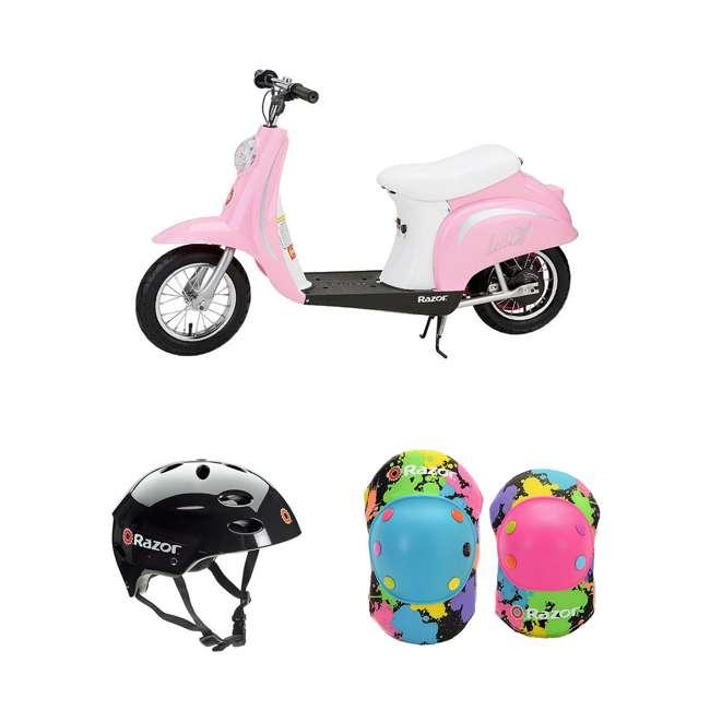 15130610 + 97778 + 96761 Razor Pocket Mod Electric Retro Scooter + Youth Sport Helmet + Elbow & Knee Pads
