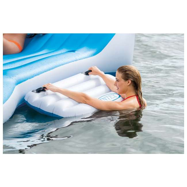 56299EP + 58821EP Intex Island Pool Lake Raft Lounger w/ Inflatable 72 Can Beverage Cooler Float 4
