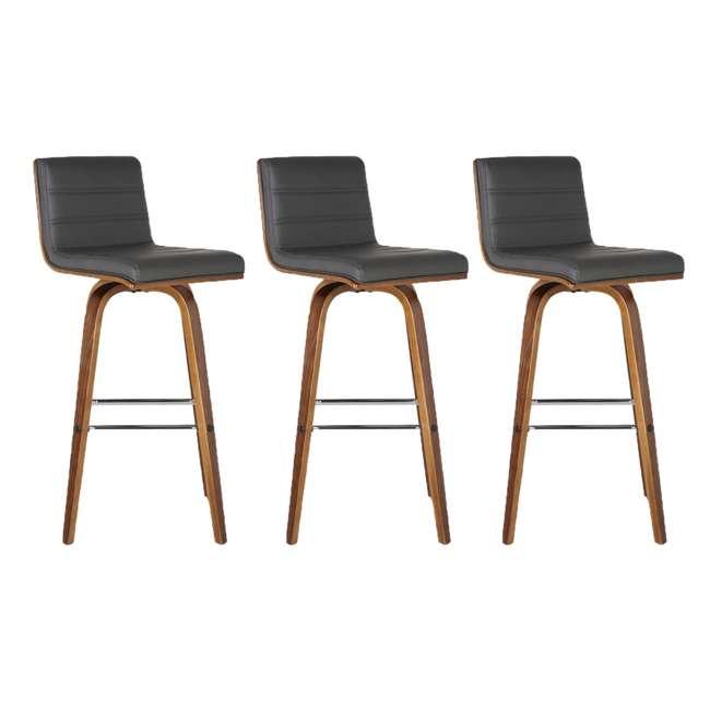 3 x LCVIBAGRWA30 Armen Living Vienna 30 Inch Barstool in Walnut Finish & Gray Upholstery (3 Pack)