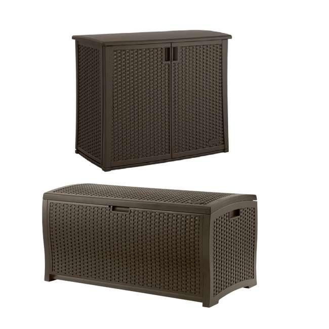 BMOC4100 + DBW9200 Suncast Elements 97 Gal Backyard Storage Entertaining Station w/ 99 Gal Pool Box
