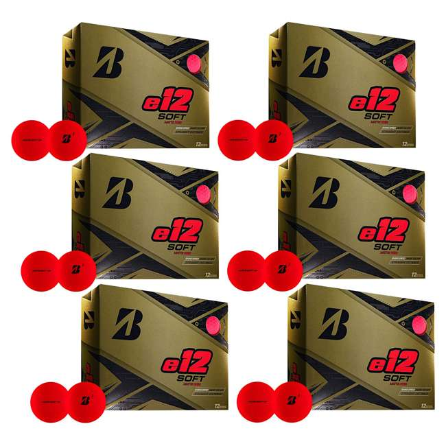 6 x 9CRX6D Bridgestone Golf Series e12 Soft 3-Piece Distance Golf Balls, Red (6 Dozen)