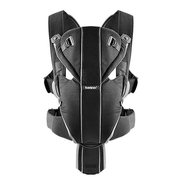 096065US BabyBjorn Baby Carrier Miracle - Black/Silver, Soft Cotton 1