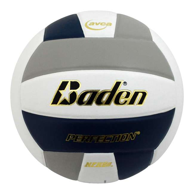 VX5EC-213A-F6 Baden Perfection Leather Indoor Play Game Official Size Volleyball, Navy/Gray