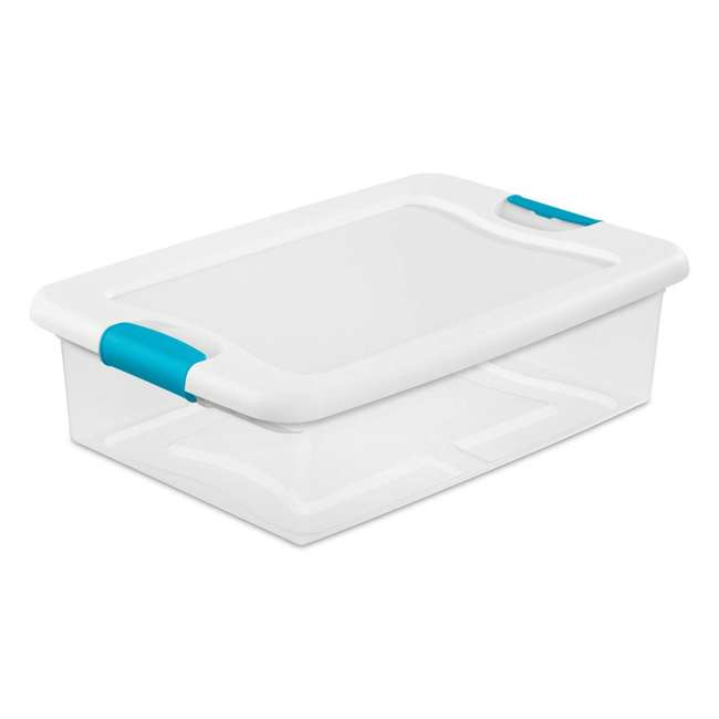 30 x 14968006-U-A Sterilite 32-Qt Clear & Blue Stackable Latching Storage Box (Open Box)(30 Pack) 2