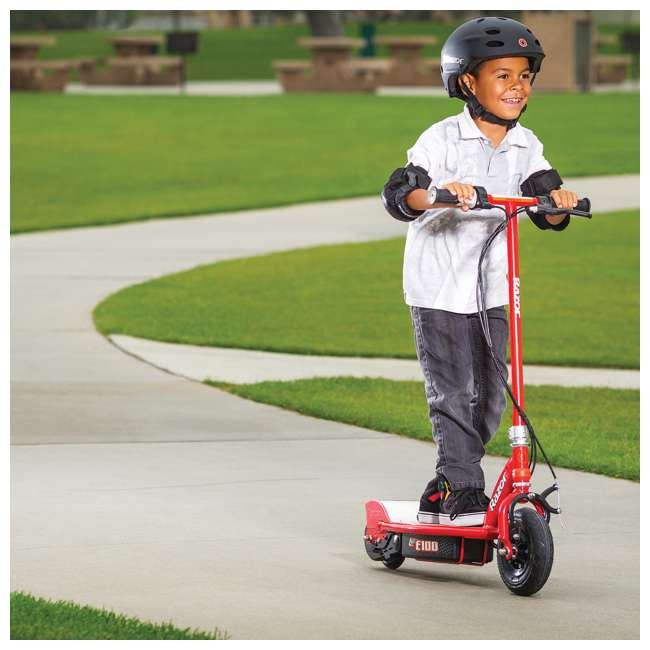 13111250 + 13111260 Razor E100 Kids 24 Volt Electric Powered Ride On Scooter, Red & Purple (2 Pack) 5