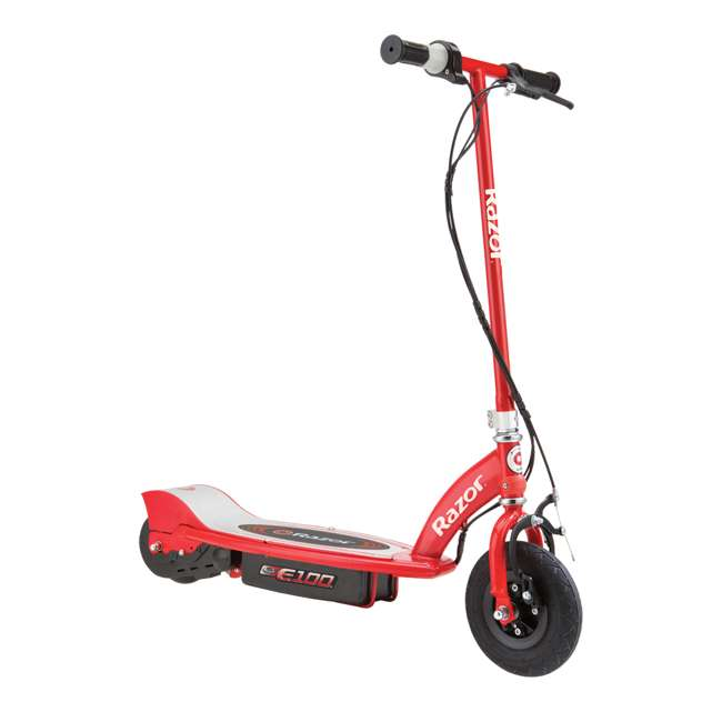 13111250 + 13111260 Razor E100 Kids 24 Volt Electric Powered Ride On Scooter, Red & Purple (2 Pack) 2