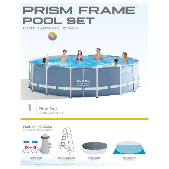 Intex 15 39 X 48 Prism Metal Frame Above Ground Swimming Pool Set 26735eh