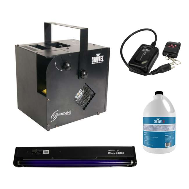 HURRICANE-HAZE2D + BLACK-24BLB + FJU + FC-W Chauvet Hurricane Haze 2D Fog Machine, Black Light, Fog Juice, & Wireless Remote