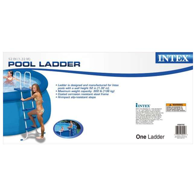 "I58975 INTEX 52"" Above Ground Swimming Pool Ladder with Steel Frame 58975E (Brown Box) 2"