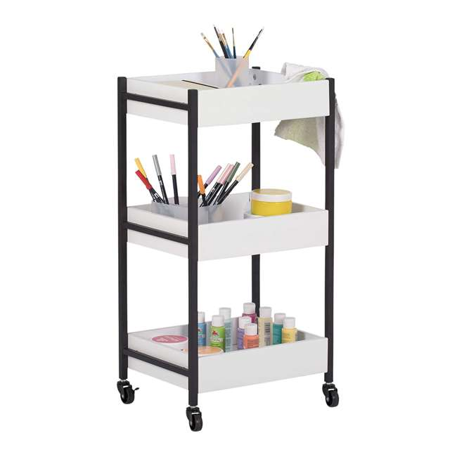 10225 Studio Designs Home 3 Bin Mobile Storage Organizing Cart with White Containers 1