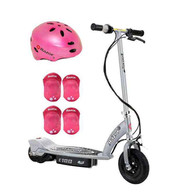 13181112 + 97783 + 96783 Razor E100 Kids 24 Volt Electric Ride On Scooter, Helmet, & Elbow & Knee Pads