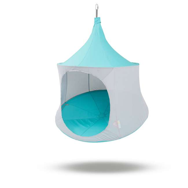 TP1500AM + TP9150 TreePod Lounger 5 Foot Tree Hanging Heavy Duty Canvas Daybed, Aquamarine w/Bug Net  1