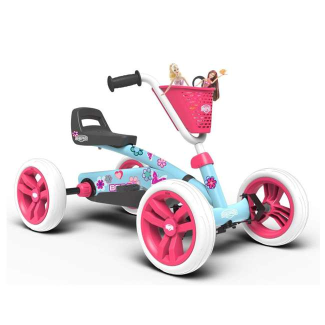 24.30.02.00 Berg Buzzy Bloom Toddler Adjustable Compact Pedal Powered Go Kart, Light Blue