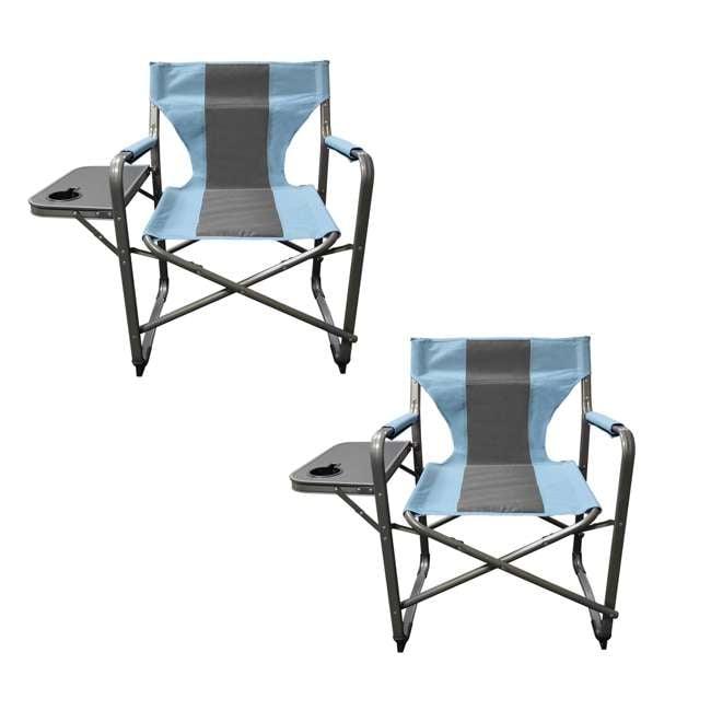 CVANDFC01022-2PK-U-B Caravan Canopy Elite Portable Director's Folding Chair, Blue/Grey (2 Pack)(Used)