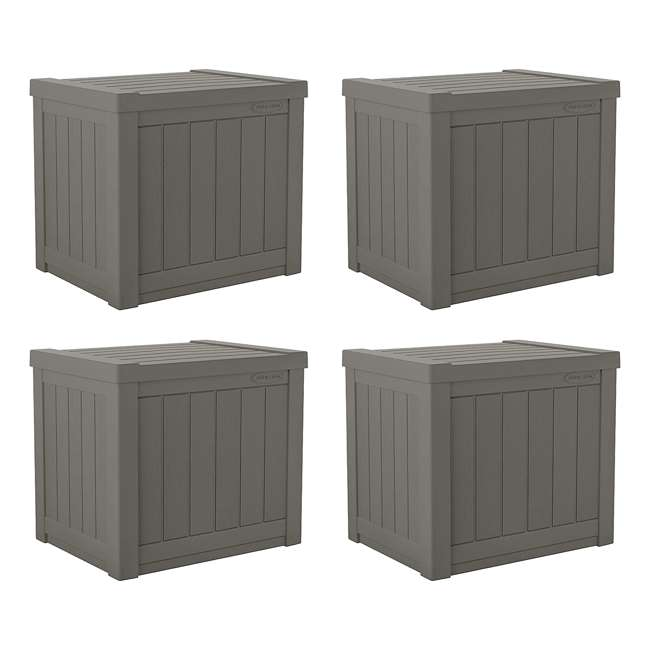 4 x SS500ST Suncast SS500ST 22 Gallon Small Resin Outdoor Patio Storage Deck Box (4 Pack)