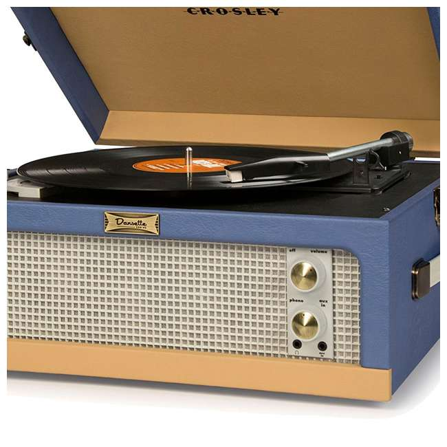 CR6234A-BT Crosley Dansette Junior Vintage-Style Portable Turntable, Blue and Tan 4