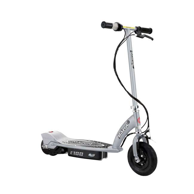 13181112 + 13111261 Razor E100 24 Volt Electric Powered Ride On Scooter, Silver & Pink (2 Scooters) 1