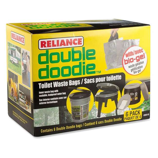2683-03 Reliance Double Doodie Portable Toilet Outdoor Waste Bags with Bio Gel (6 Pack)