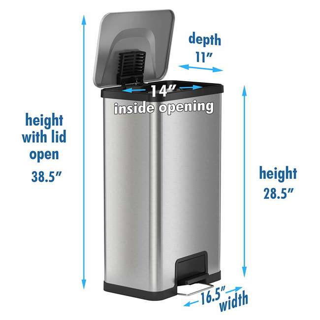 PC18SN iTouchless 18 Gallon Step Trash Can with AirStep Pedal and Built-In Deodorizer 6