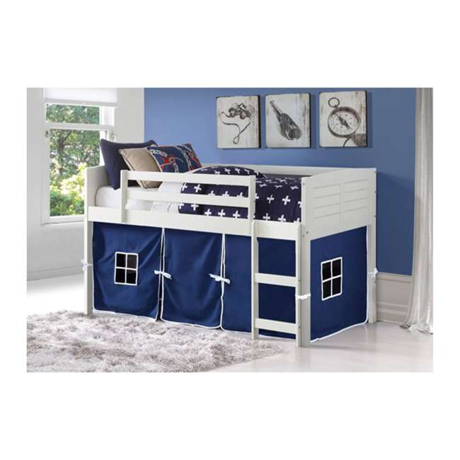 795-ATW_750C-TB Donco Kids Louvre Low Captain's Loft Pine Wood Twin Bed with Blue Tent, White
