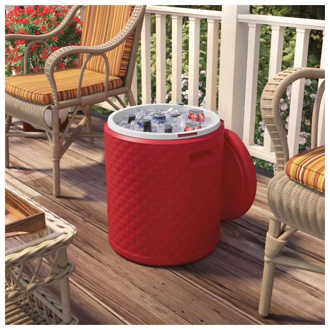 BMDC1000RD Suncast 54 Quart 60 Can Round Outdoor Patio Cooler, Side Table, & Stool (2 Pack) 4