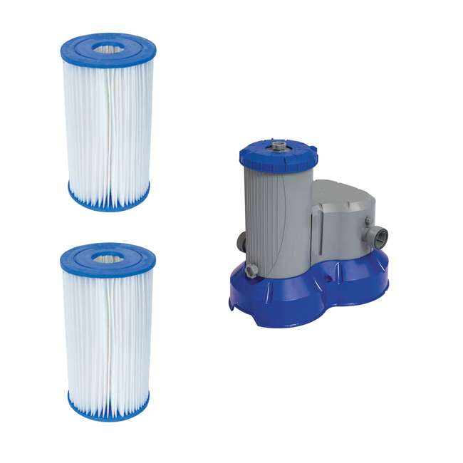 58095E-BW + 58392E-BW Bestway Pool Filter Pump Replacement Cartridge (2 Pack) + Pool Filter Pump