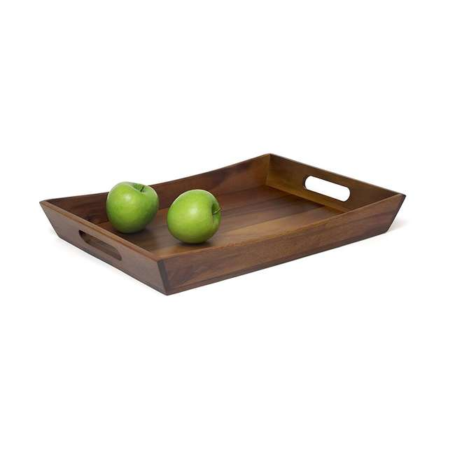 LP-1165 Lipper International Acacia Serving Curved Tray, Brown 1
