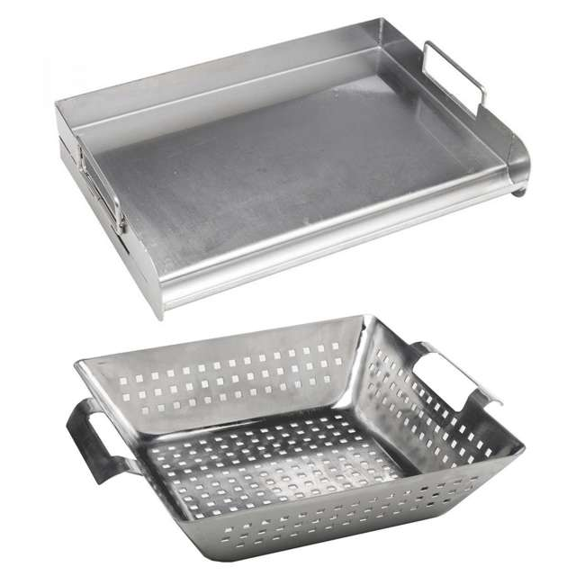 BOPA-24105 + BOPA-24108 Bull Flat Top Grill Griddle & Stainless Steel Square Wok