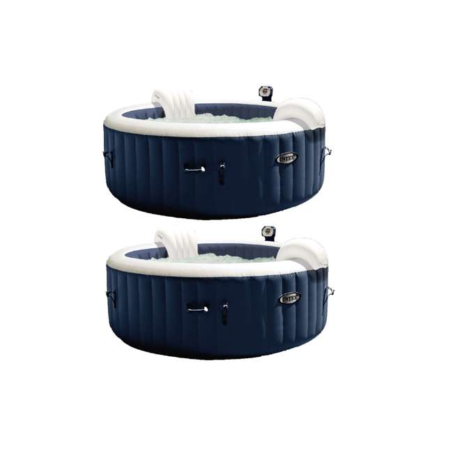 28405E Intex PureSpa 4 Person Home Inflatable Heated Bubble Round Hot Tub (2 Pack)