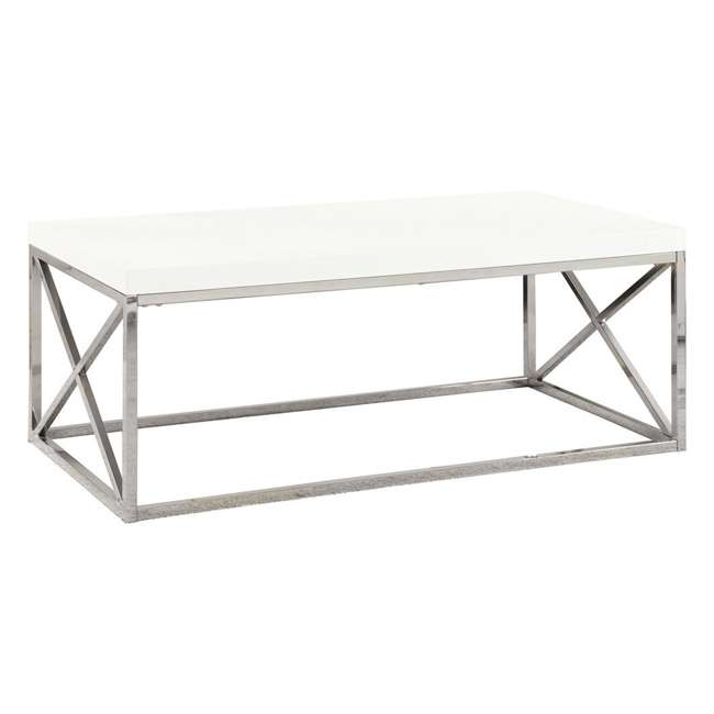 VM-3028-U-A Monarch Glossy White Metal Contemporary Design Coffee Table (Open Box) (2 Pack)