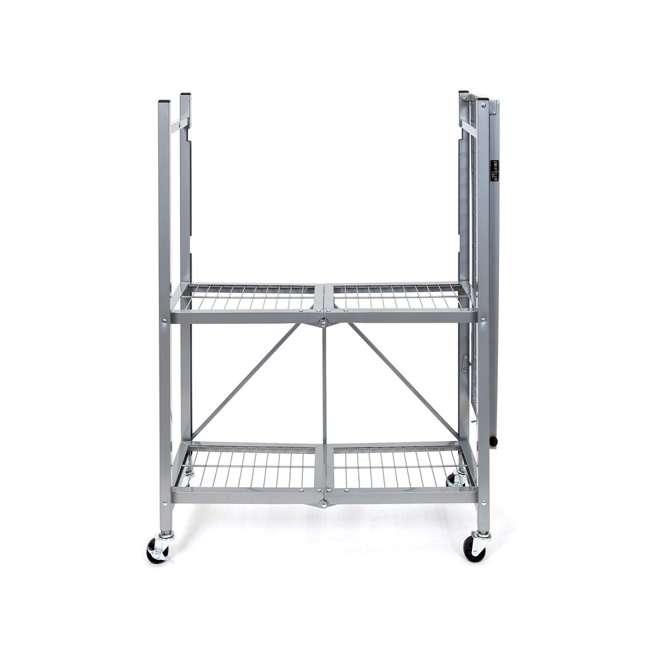 R3-01 Origami R3 General Purpose Foldable 3-Tiered Shelf Storage Rack w/ Wheels, Small 1