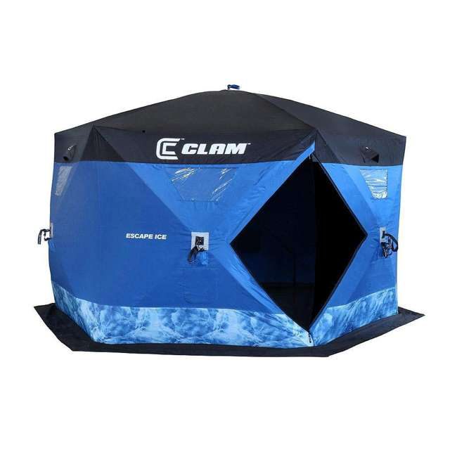 CLAM-10944-U-B Clam Corporation Clam Escape 6 Sided 5-7 Capacity Ice Fishing Tent Shelter(Used)