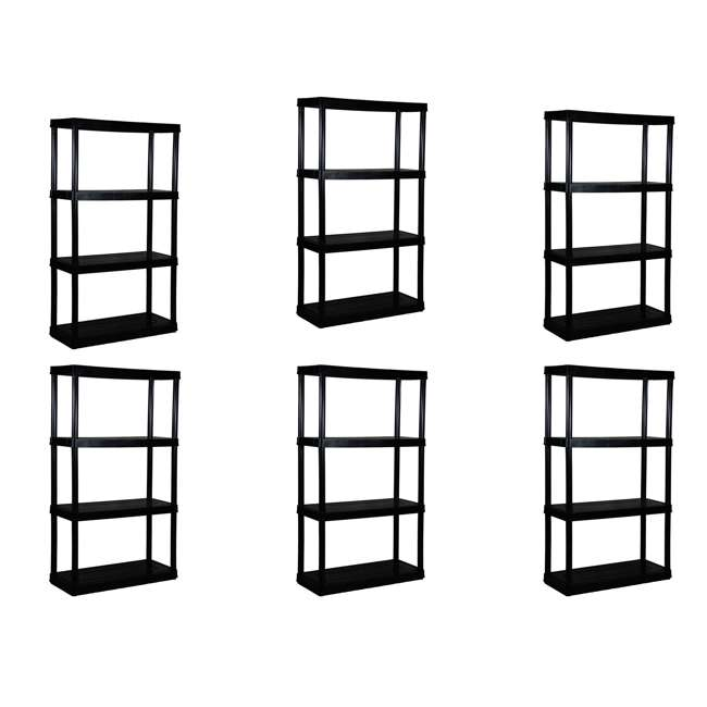6 x GL91021MAXIT-1C-36 Gracious Living 4-Tier Resin Garage Storage Shelf, Black (6 Pack)